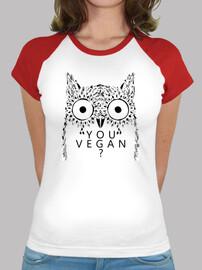 "Women's Baseball T-shirt ""You Vegan?"" Owl - Strong with Plants"