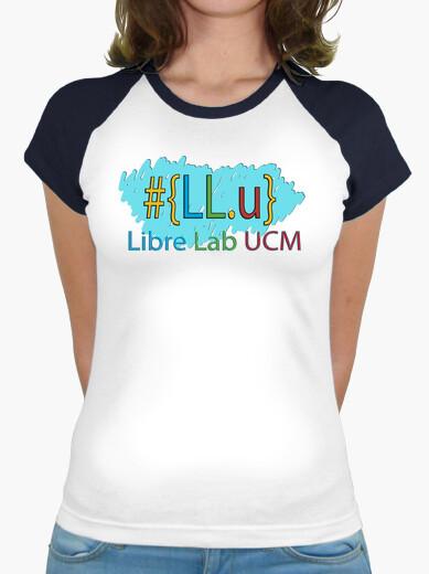 Women, baseball style, white and turquoise t-shirt