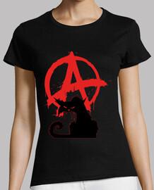 women's t-shirt - black anarchist cat