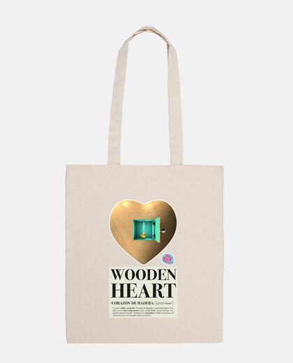 wooden heart bag