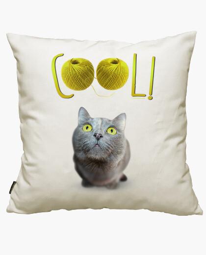 Housse de coussin yeux de chat verts heureuse - cool!