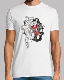 ying yang dragon t- shirt lézard chinois vs phoenix en hausse