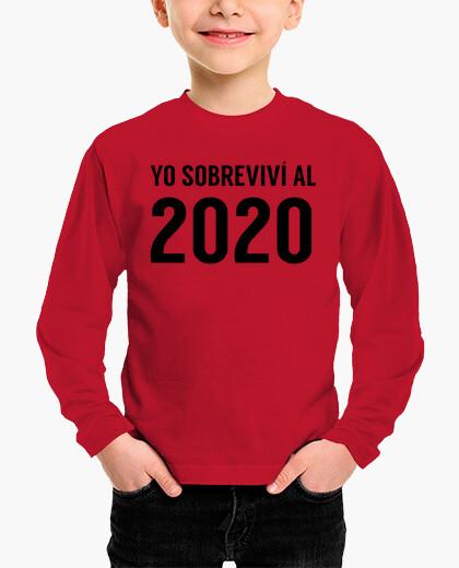 Ropa infantil Yo sobreviví al 2020 Camiseta Niño o Niña Manga Corta Divertida