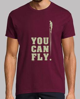 YOU CAN FLY LATERAL Hombre, manga corta, burdeos, calidad extra