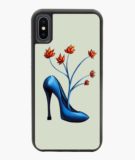 Funda iPhone X / XS zapato azul con flores