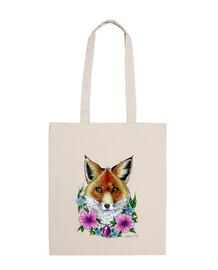 zorro y flores tatuaje bolsa