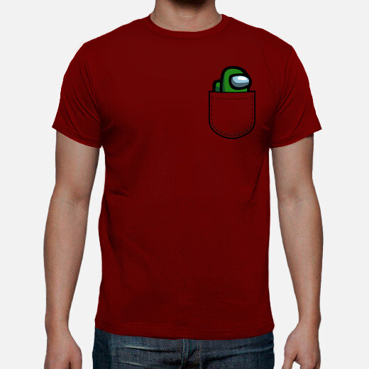 Among us pocket size dark green t-shirt