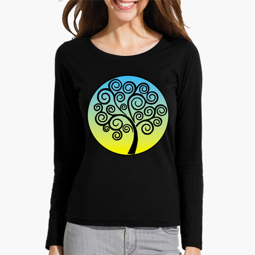 Black tree of life on blue and yellow...