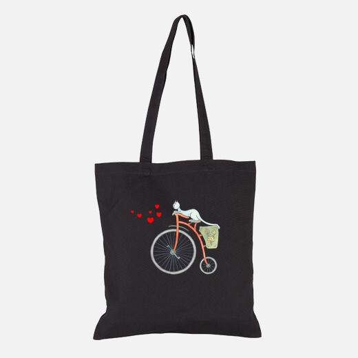 Bolsa Red vintage bicycle with blue cat