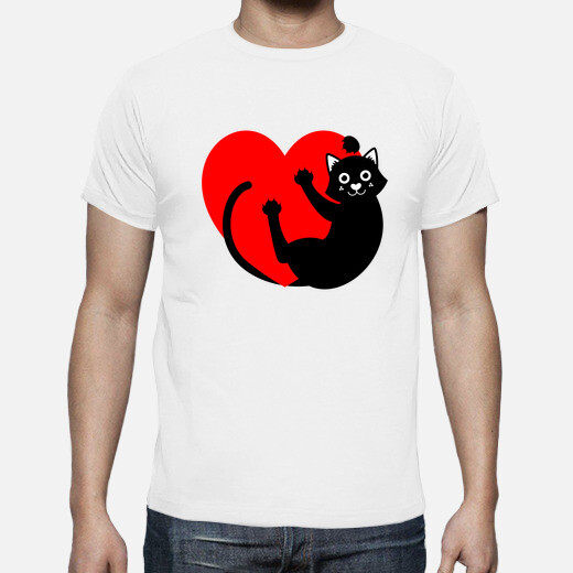 Camiseta BLACK CAT HANGING FROM THE HEART