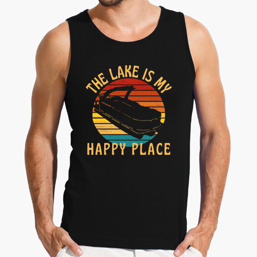 Camiseta el lago es mi lugar feliz barco...