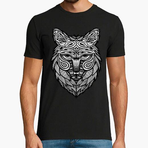 Camiseta hombre - cabeza de lobo tribal