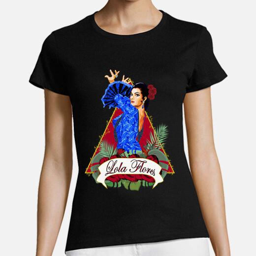 Camiseta Lola flores, manga corta, negra,...