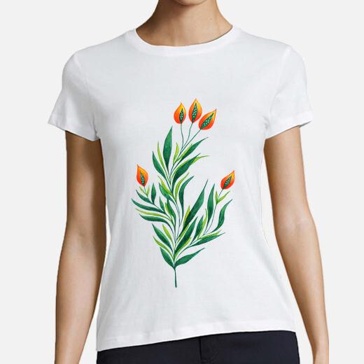 Camiseta planta verde con brotes de naranja
