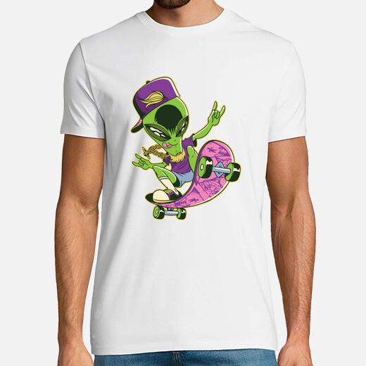 Camiseta skater alien skateboarding regalo...