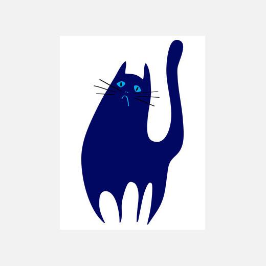 el gato triste y azul