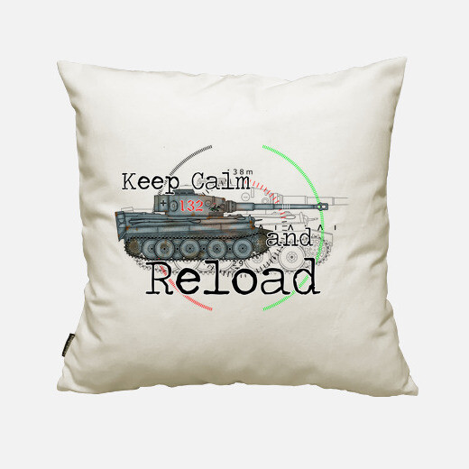 Funda cojín Keep calm and reload the tiger