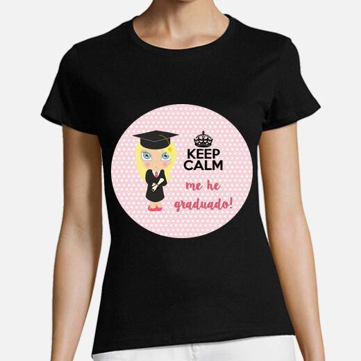 graduation keep calm - femme, manches courtes, noir, qualité premium