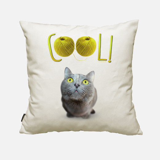 Green eyed cat happy - cool! cushion cover