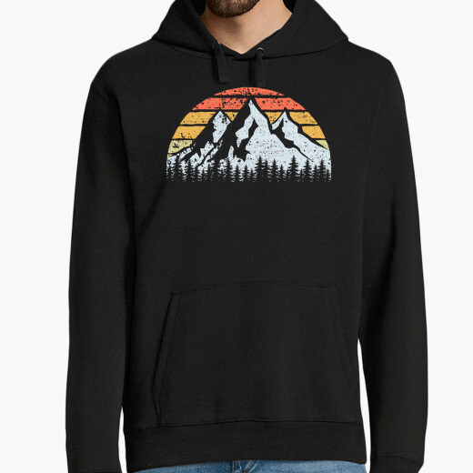 Mountains trees and vintage sunset hoodie