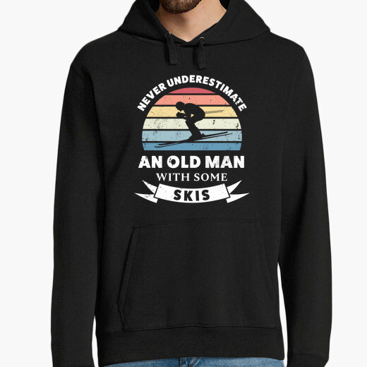 Old man with some skis funny gift dad hoodie