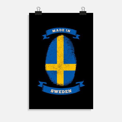 Póster hecho en suecia cumpleaños de...