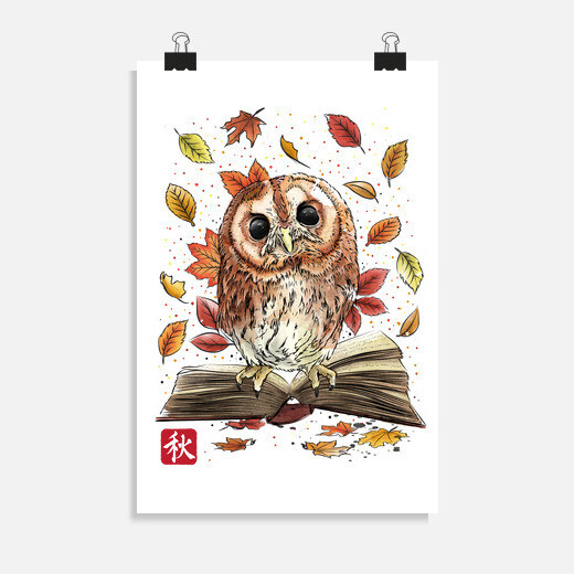 Póster Owl Leaves and Books