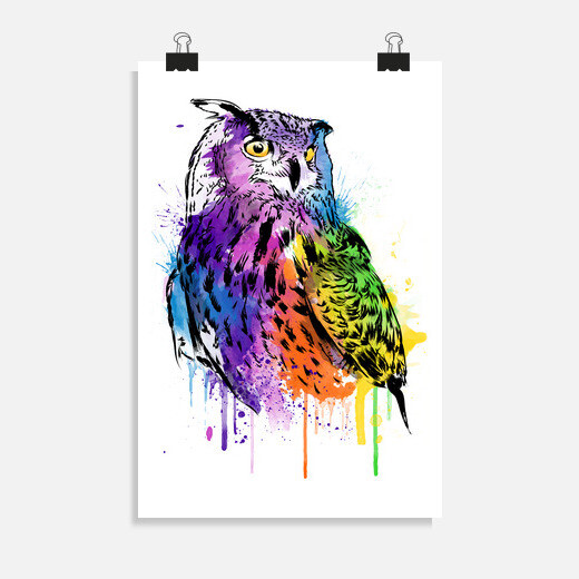 Póster Owl Watercolor