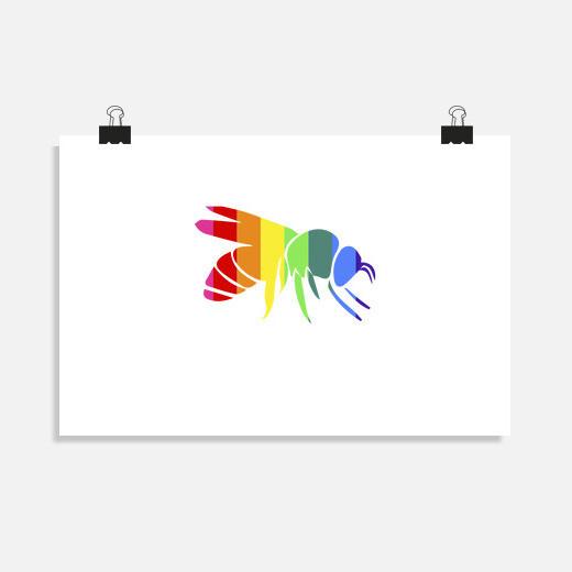 Póster Poster abeja arcoiris LGBT orgullo...