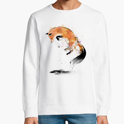 Red fox jumping into snow hoodie