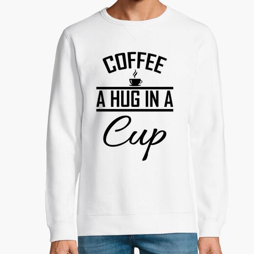 Sudadera abrazo en una taza café cita...