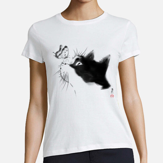 Tee-shirt chat curieux
